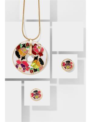 Набор украшений: цепочка с кулоном и серьги Nothing but Love. Цвет: белый, золотистый, красный