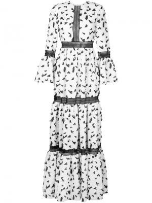 Платье с рисунком и рукавами-колокол Huishan Zhang. Цвет: белый