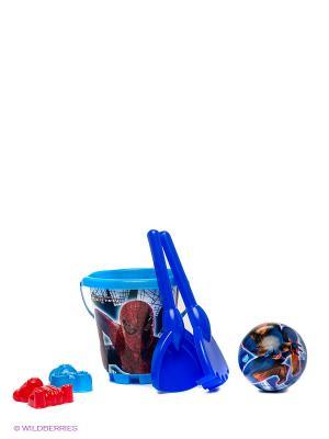 Песочный набор Спайдермен  в рюкзаке на колесах Unice. Цвет: синий, голубой