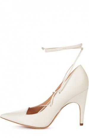 Кожаные туфли Opera на шнуровке Derek Lam. Цвет: бежевый
