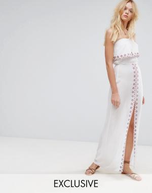 Akasa Пляжное платье макси с вышивкой. Цвет: мульти