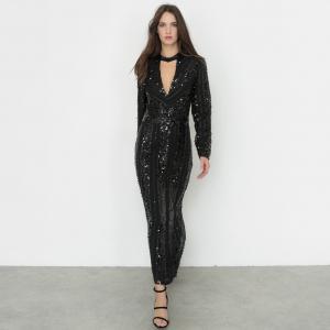 Платье длинное с блестками и глубоким декольте Inès Olyme Marcadal x La Redoute. Цвет: черный