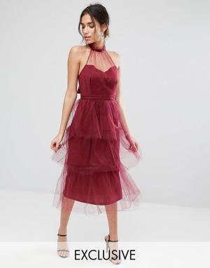 True Violet Ярусное платье миди из тюля. Цвет: красный