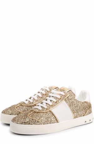 Текстильные кеды Flycrew с глиттером на шнуровке Valentino. Цвет: золотой