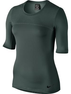 Футболка W NP HPRCL TOP SS Nike. Цвет: зеленый, черный