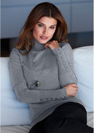 Пуловер MY STYLE. Цвет: серый меланжевый