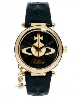 Vivienne Westwood Часы с кожаным ремешком и подвеской-орбитой VV006BKG. Цвет: черный