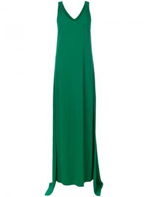 Длинное платье с V-образным вырезом Rosetta Getty. Цвет: зелёный