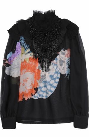 Шелковая полупрозрачная блуза с принтом и декоративной отделкой бисером Dries Van Noten. Цвет: черный