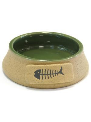 Миска 13х4,5смJ OY керамическая с рыбкой зеленая JOY. Цвет: зеленый
