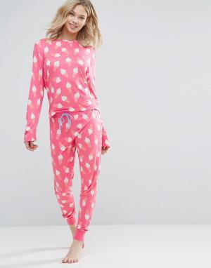 Chelsea Peers Пижама с длинными рукавами и мороженым. Цвет: красный