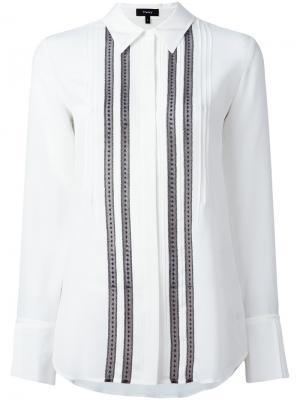 Рубашка с плиссированным нагрудником Theory. Цвет: белый
