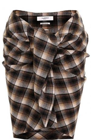 Шерстяная мини-юбка в клетку с драпировкой Isabel Marant Etoile. Цвет: коричневый