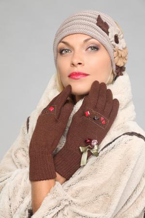 Перчатки Lak Miss. Цвет: коричневый
