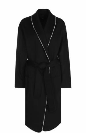 Пальто с металлизированной отделкой и поясом Alexander Wang. Цвет: черный