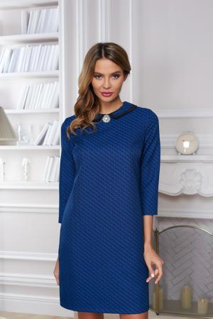 Полуприлегающее платье с брошью Vittoria Vicci. Цвет: синий