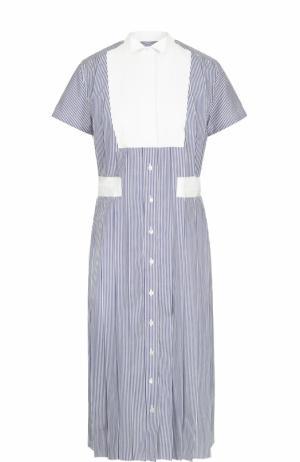 Хлопковое платье-миди в полоску Sacai. Цвет: белый