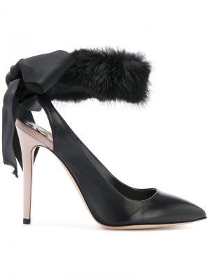 Туфли-лодочки с меховой отделкой Olgana. Цвет: чёрный