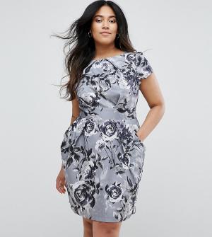 Closet Plus Платье-футляр с цветочным принтом. Цвет: мульти