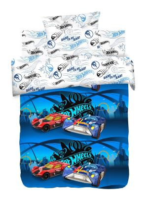 Комплект постельного белья 1.5 бязь Найт Сити Hot Wheels. Цвет: синий, белый