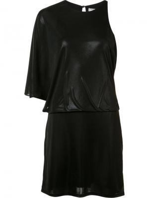 Платье с асимметричными плечами Halston Heritage. Цвет: чёрный