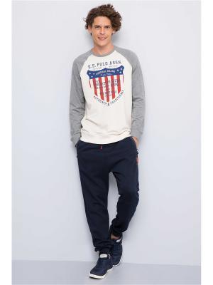 Свитшот U.S. Polo Assn.. Цвет: серый, молочный