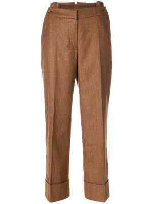 Широкие брюки с отворотами на манжетах Petar Petrov. Цвет: коричневый