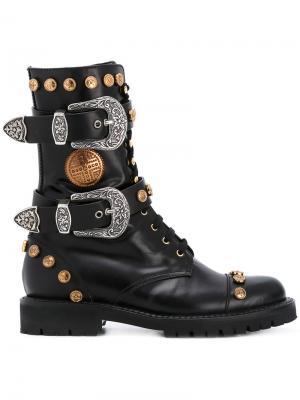 Высокие ботинки с заклепками и пряжками Fausto Puglisi. Цвет: чёрный