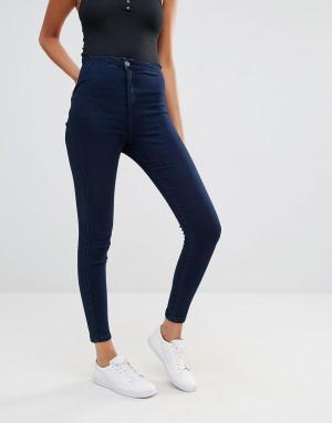 Missguided Эластичные джинсы скинни с завышенной талией Vice. Цвет: темно-синий