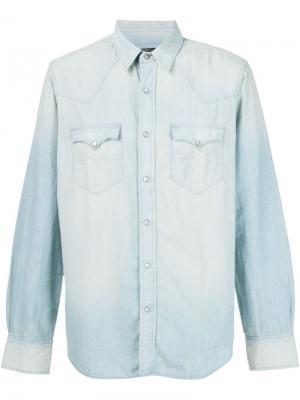 Выбеленная джинсовая рубашка Rrl. Цвет: синий