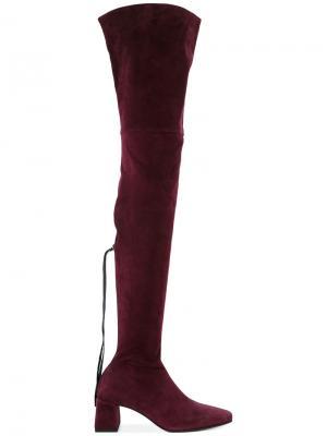 Ботфорты с квадратным носком Nino Babukhadia. Цвет: розовый и фиолетовый