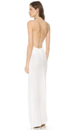 Макси-платье с перекрещивающимися на спине бретельками Olcay Gulsen. Цвет: белый