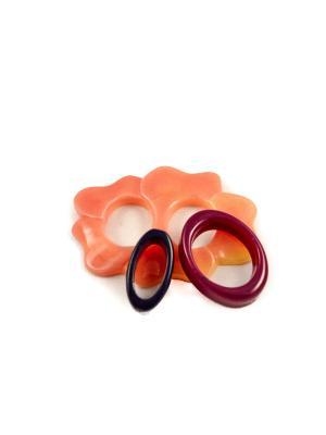 Пряжка Волшебная пуговица Лилия и кольцо для шарфа madam Пряжкина. Цвет: сливовый, малиновый, персиковый