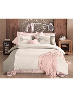Комплект постельного белья NELSON сатин, 200ТС, флок печать, евро ISSIMO Home. Цвет: розовый