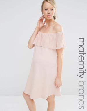 Bluebelle Maternity Облегающее платье для беременных с рюшами. Цвет: розовый