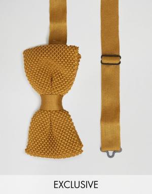 Noose & Monkey Вязаный галстук-бабочка. Цвет: желтый