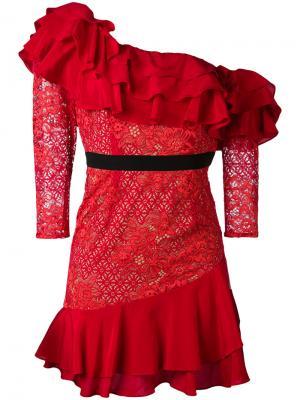 Кружевное платье с рюшами For Love And Lemons. Цвет: красный