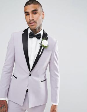 ASOS Бледно-лиловый супероблегающий пиджак-смокинг с атласными лацканами AS. Цвет: фиолетовый