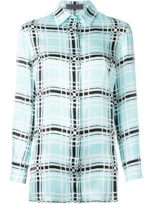Рубашка в клетку Emanuel Ungaro. Цвет: синий