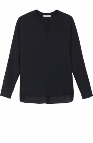 Шелковая блуза свободного кроя Vince. Цвет: темно-синий