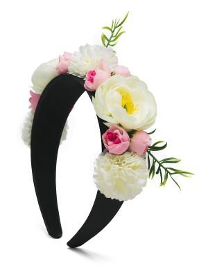 Ободок с пионами, розами и хризантемами Весенняя роскошь Афин Nothing but Love. Цвет: светло-желтый, розовый, черный