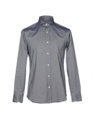 Джинсовая рубашка SALVATORE PICCOLO. Цвет: стальной серый