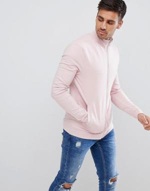 ASOS Розовая облегающая трикотажная спортивная куртка DESIGN. Цвет: розовый