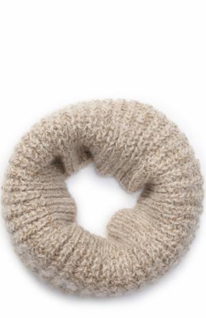 Шарф-снуд фактурной вязки с отделкой металлизированной нитью Deha. Цвет: бежевый