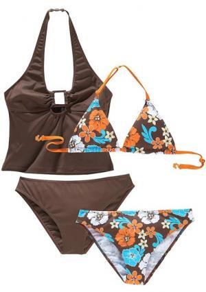 Комплект, 4 части: бикини + танкини. Цвет: коричневый+с рисунком, темно-синий с рисунком