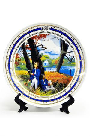 Тарелка настенная А.С. Пушкин Федерация. Цвет: белый, синий