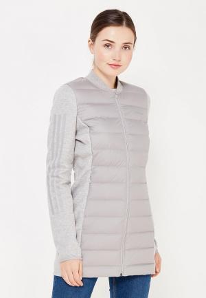 Куртка утепленная adidas Neo. Цвет: серый
