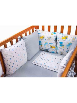 Бампер Собачки 6 подушек DAISY. Цвет: голубой, светло-желтый, светло-серый