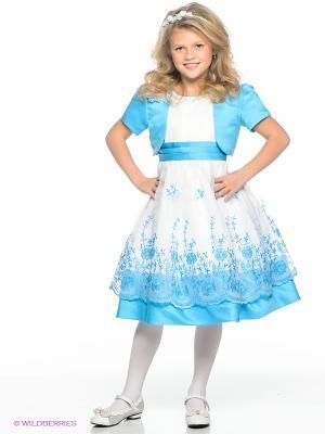 Платье праздничное для девочек + болеро Perlitta. Цвет: голубой, белый