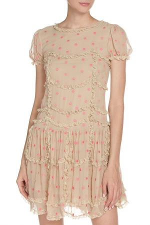Платье с маленькими рюшками Valentino Red. Цвет: бежевый